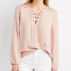 Pink Lace Up Long Sleeve Blouse